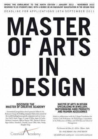 MASTER OF ART IN DESIGN POST-GRADUATE COURSE  RECRUITING CAMPAIGN
