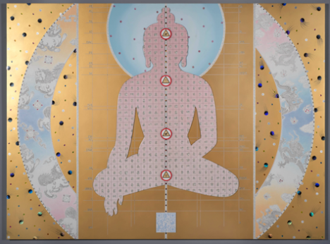 Pendulum of Autonomy (2014), Mixed media collage and dibond on aluminum honeycomb panel 60 x 80 in. (152.4 x 203.2 cm),