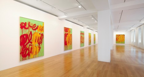 Installation view of Cy Twombly: The Last Paintings at Gagosian Gallery Hong Kong, June 28 - August 11, 2012. Courtesy Gagosian Gallery.