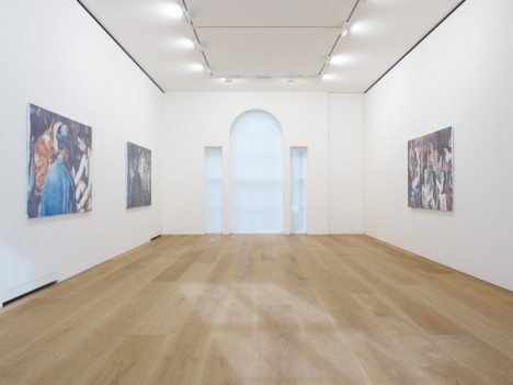 Installation view of the 2012 solo exhibition Luc Tuymans: Allo! at David Zwirner, London. © Photo: Stephen White. Courtesy David Zwirner, London.