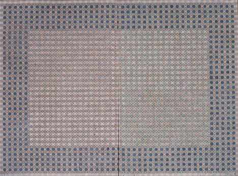 「十示1997-8」200×270cm  丙烯、成品布 1997   Appearance of crosses 1997-8 Acrylic on tartan 200x270cm