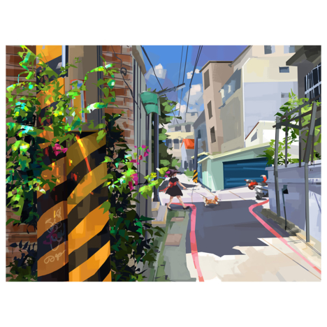 Wang Chieh, Morning Walk, 2020, 232 × 309 mm, Digital