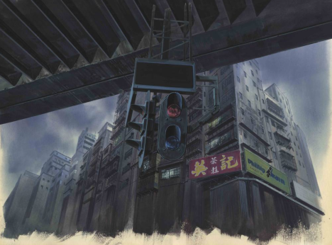 "Background for ""Ghost in the Shell"" (1995), Shot No. 335 Gouache on paper, cut out, acrylic on transparent folio 280 x 380 mm Illustrator: Hiromasa Ogura © 1995 Shirow Masamune / Kodansha ∙ Bandai Visual ∙ Manga Entertainment Ltd."