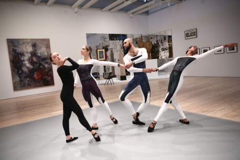 Dance performance in Nick Mauss: Transmissions, Whitney Museum of American Art, New York, March 16 - May 14, 2018. Preview performance date: March 13, 2018. Performers pictured (left to right): Matilda Sakamoto, Alexandra Albrecht, Burr Johnson, and Ahmaud Culver. Photo © Paula Court